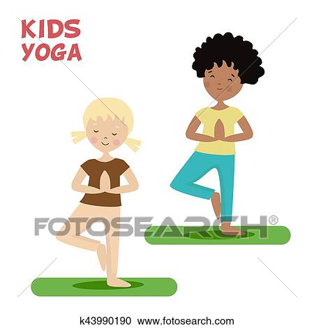 Girl And Boy Are Engaged In A Kids Yoga Sports Or Exercise Cartoon Flat Character Isolated White Background Vector Illustration Eps10 Clipart K43990190 Fotosearch