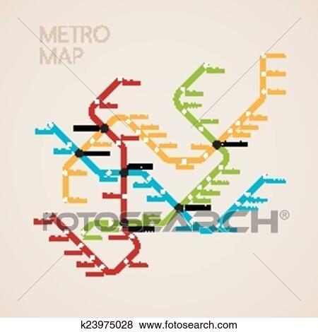 Subway Map Graphic Design.Metro Subway Map Design Template Transportation Concept Clip Art