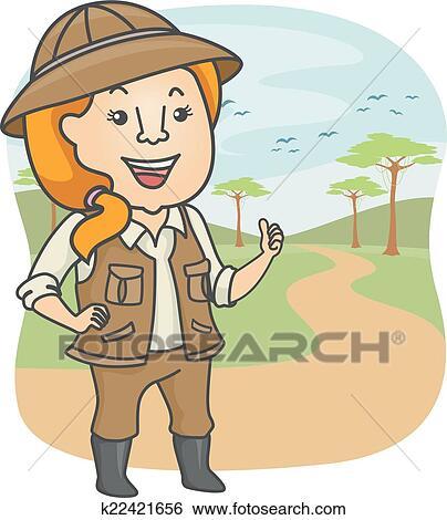 clip art of safari tour guide k22421656 search clipart rh fotosearch com clip art gideon clipart guided reading