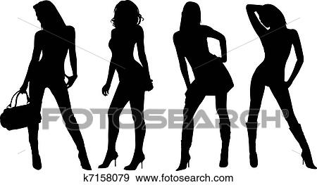 Clip Art Of Sexy Women Silhouettes K7158079 Search Clipart