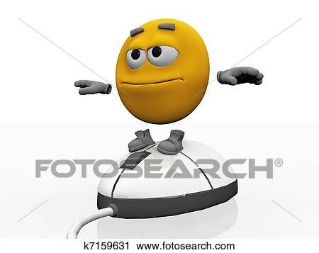 Clipart smiley dessin anim sur a souris ordinateur - Souris ordinateur dessin ...