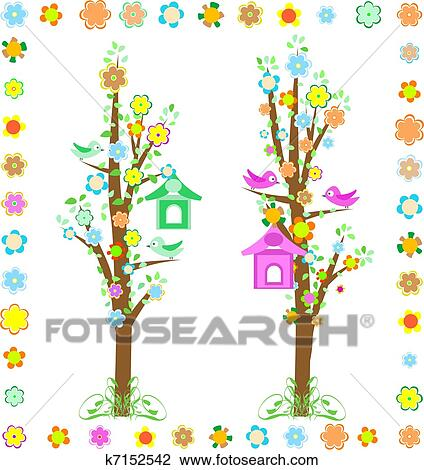 Clipart Of Spring Tree With Birds With Birdhouse And Flower K7152542