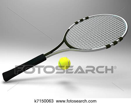 Drawing Of Tennis Racket And Ball K7150063 Search Clipart