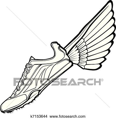 clipart of track shoe with wing vector illustr k7153644 search rh fotosearch com tire tracks clipart tire tracks clipart vector