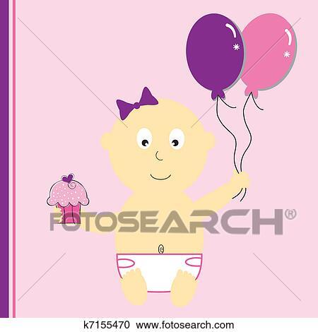 Clipart Verjaardag Girl Met Ballons K7155470 Zoek Clipart