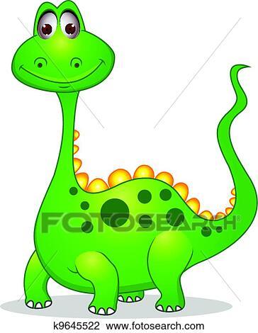 かわいい 緑 恐竜 漫画 クリップアート切り張りイラスト絵画