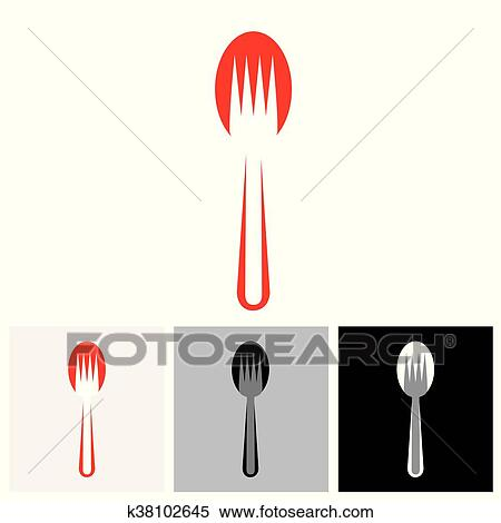 Abstract Colorful Arrangement Of Spoon And Fork Vector Icon The Ilration Represents Icons Symbols For Hotel Restaurants Food Blogs Websites