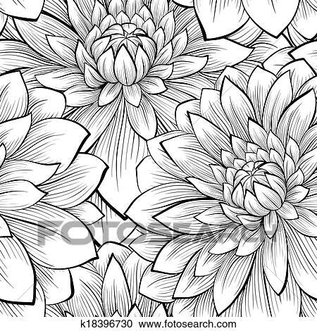 Bonito Seamless Fundo Com Monocromático Preto Branco Flores Clipart