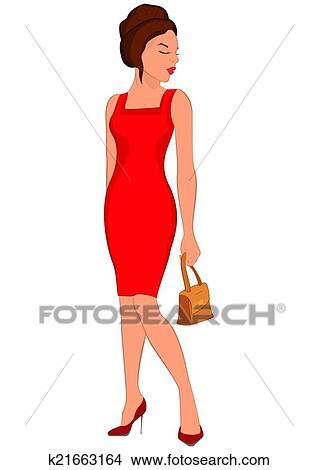 Femme robe rouge dessin anime
