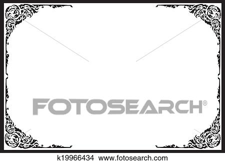 Drawings of frames-black-white-pattern-thai k19966434 - Search Clip ...
