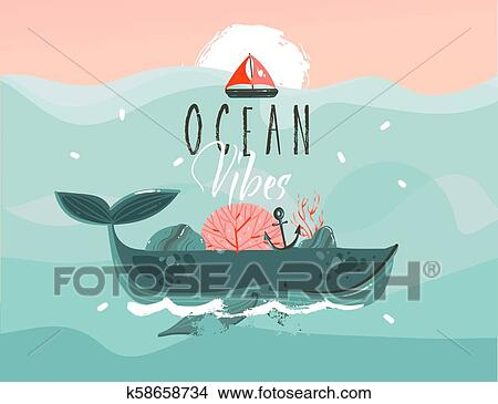 Hand Drawn Vector Abstract Cartoon Summer Time Graphic Illustrations Template Background With Blue Ocean Waves Big Whale Corals Seaweed Sail