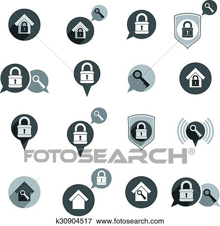 Clip Art Of House Security Protection Vector Icons Set Home House