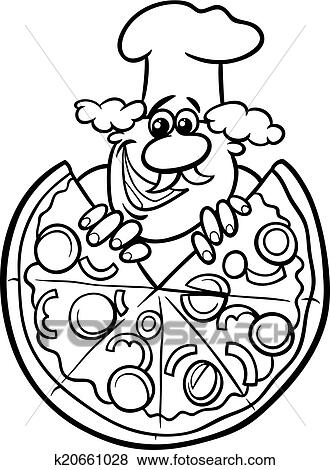 italian food coloring pages | Italian pizza cartoon coloring page Clip Art | k20661028 ...