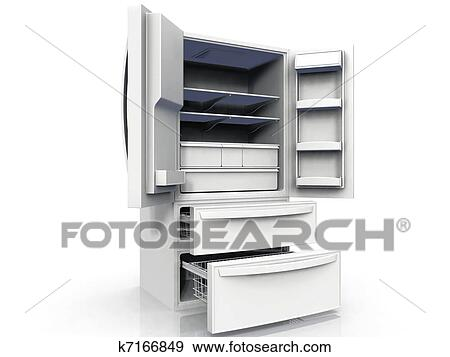 Kühlschrank Schubladen : Stock illustration leerer doppelte tür kühlschrank mit