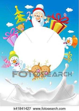Clip Art of Merry Christmas frame design with Santa Claus Sleigh ...