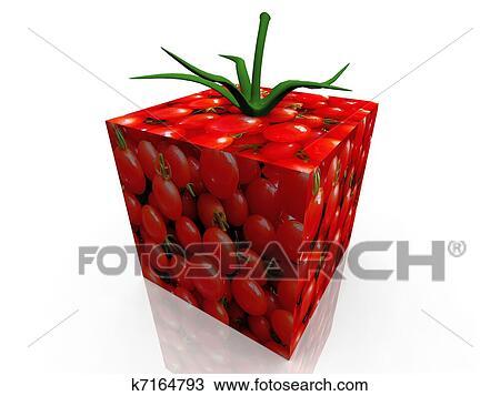 Tomates Cerises Dans Comme A Cube Dessin K7164793 Fotosearch