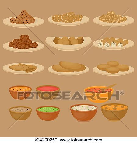 Clipart - vedic, indische, küche, satz, von, vegetarier, gesundes ...