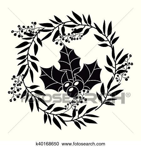 Baga E Folhas Coroa Desenho Clipart K40168650 Fotosearch