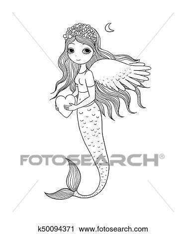 Clipart Of Beautiful Little Mermaid Siren Sea Theme K50094371