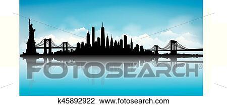 Blue New York City Skyline Vector Clipart K45892922 Fotosearch