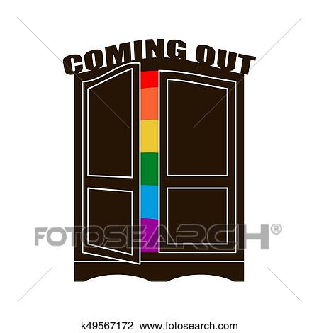 Open Closet Door Drawing Shutterstock Clipart Coming Out Wardrobe