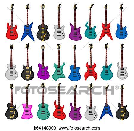 Conjunto De Guitarras Eléctricas Dibujo K64148903