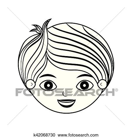 Clipart Of Front Face Child Silhouette With Stripes Hair K42068730