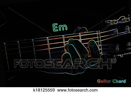 Stock Illustration of Guitar chord on a dark background k18125559 ...