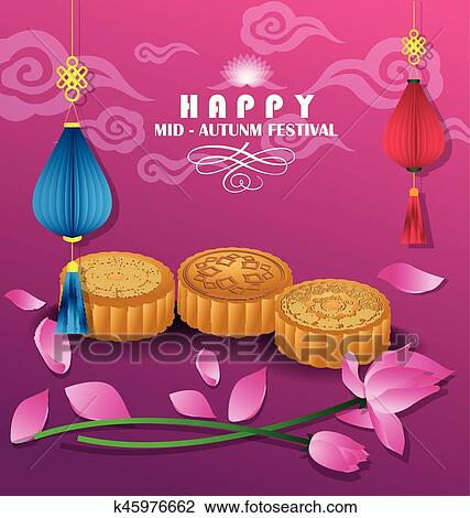 Happy mid autumn festival chinese background Clipart
