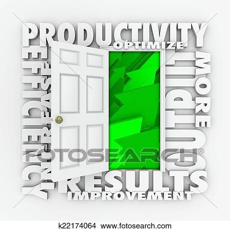 stock photo of productivity efficiency 3d word door improve results
