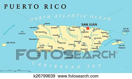 Puerto Rico Political Map Clip Art