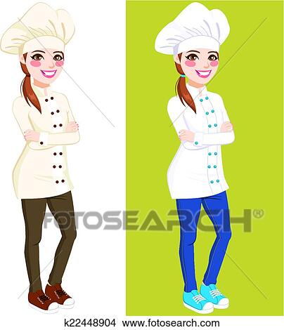 clipart of confident chef woman standing k22448904 search clip art rh fotosearch com female chef clipart images female cook clipart