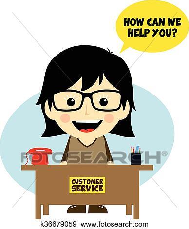 clip art of customer service desk cartoon character k36679059 rh fotosearch com customer service clipart and graphics customer service clipart images