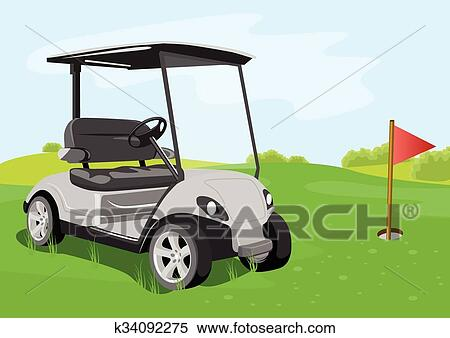 clipart of golf cart and flag on a golf course k34092275 search rh fotosearch com golf course clip art free golf course clip art free