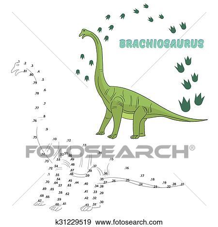 Clipart p dagogique jeu relier points dessiner - Dessiner dinosaure ...