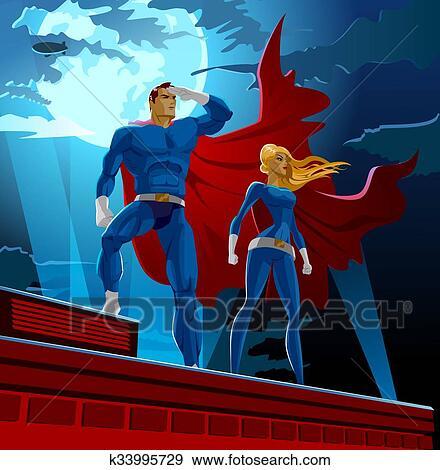 clip art of superhero couple male and female superheroes k33995729