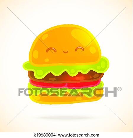かわいい 面白い 漫画 ハンバーガー で 目 微笑 クリップ
