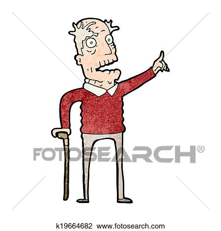 clipart of cartoon old man with walking stick k19664682 search rh fotosearch com  sick old person clipart
