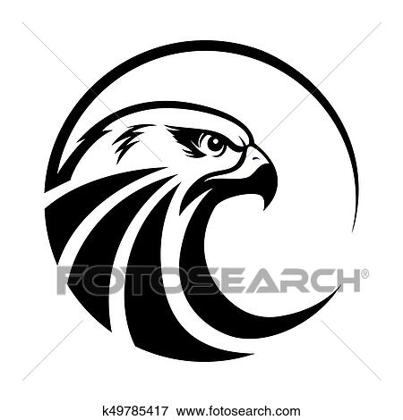 stock illustration of eagle head logo template hawk mascot graphic