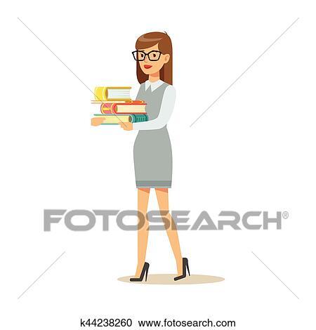 Clipart Femme Dans Lunettes Porter Tas Livres Sourire