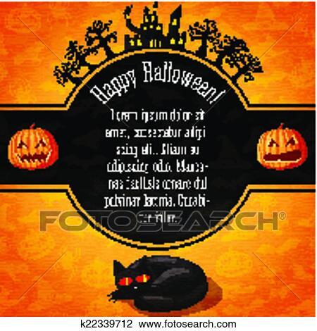 Clipart - glücklich, halloween, spruchbaender, mit, grüße, und ...
