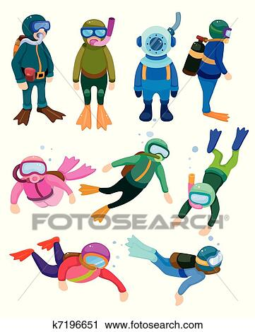 Clipart dessin anim plongeur ic nes k7196651 - Plongeur dessin ...