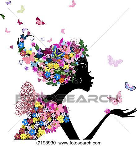 clipart ragazza con fiori e farfalle k7198930