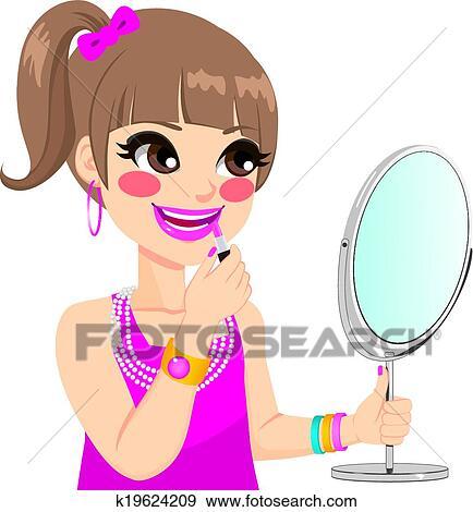 clip art of little girl makeup k19624209 search clipart rh fotosearch com makeup clipart free makeup clip art images