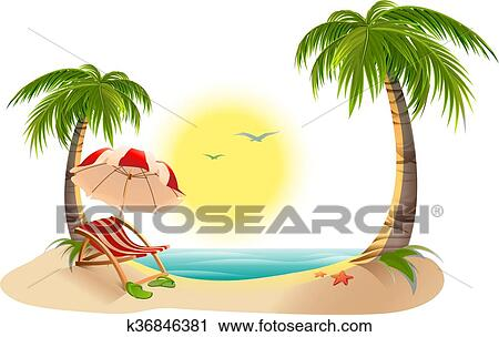 Beach Chaise Longue Under Palm Tree Umbrella Summer Vacation In Tropics Cartoon Vector Ilration