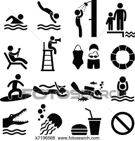 Clipart piscine mer plage ic ne symbole k7196566 - Clipart piscine ...