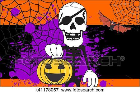 Cartone animato carino scheletro e gatto scaricare vettori premium