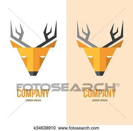 Clipart Vecteur Cerf Logo Cerf Face Orange Deer Sauvage