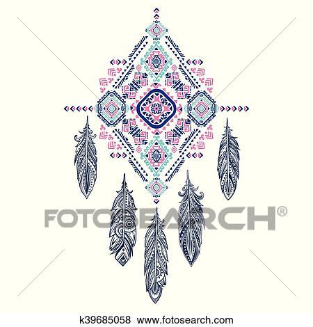 Clip Art - vector, azteca, mexicano, tribal, ornamento, sueño ...