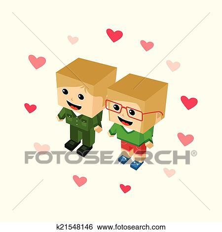 Clipart Amour Couple Bloc Isometrique Dessin Anime Caractere